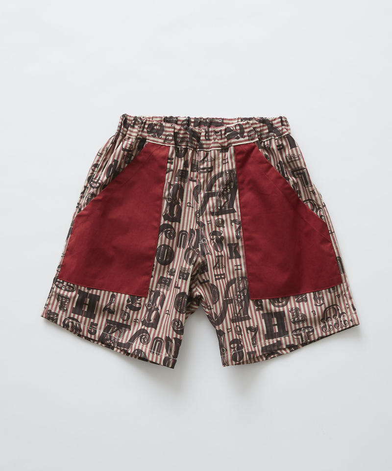 【 eLfinFolk 2019SS 】elf-191F15 stripe×alphabetic print shorts / burgundy