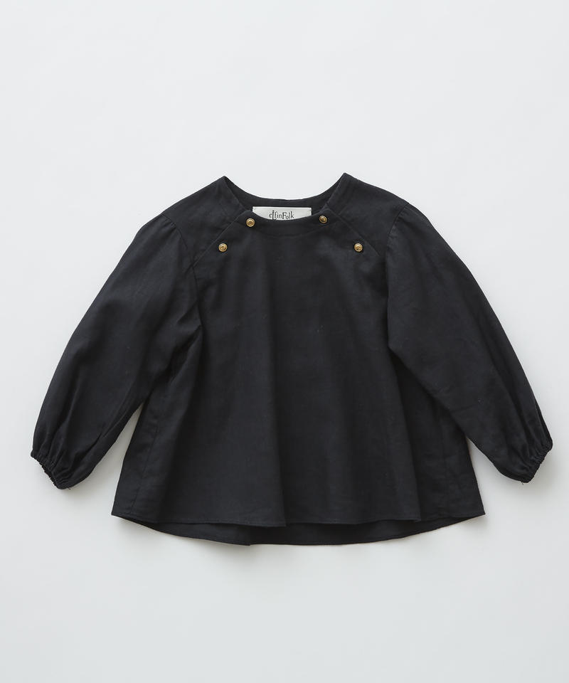 【 eLfinFolk 2019AW 】elf-192F27 C/L washer baby blouse / black / 80 - 100cm