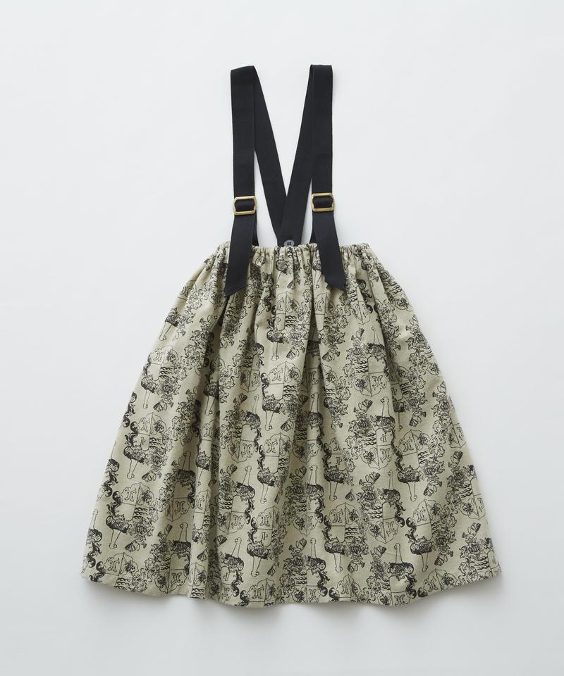 【 eLfinFolk 2019AW 】elf-192F08 ALfaFolk emblem print skirt / oatmeal / 90, 110, 130cm