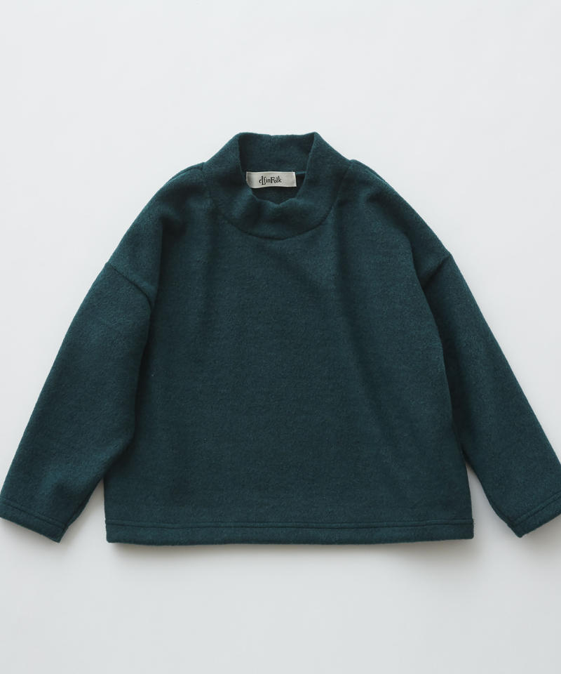 【 eLfinFolk 2019AW 】elf-192J33 melange highneck tops / green / 110 - 130cm