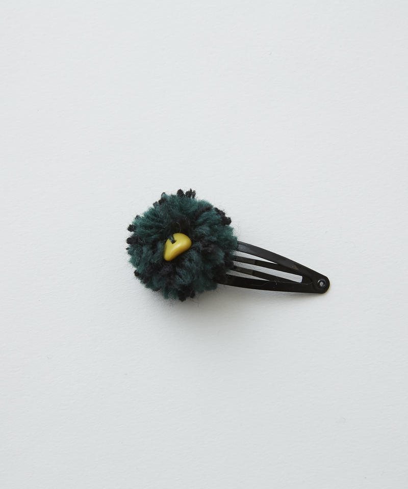 【 eLfinFolk 2019AW 】elf-192A43 ponpon hair clip / green×black