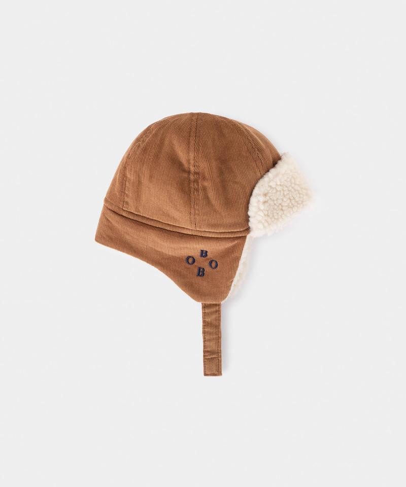 【 Bobo Choses 2019AW 】219278 KHAKI SHEEPSKIN BABY HAT(baby size)