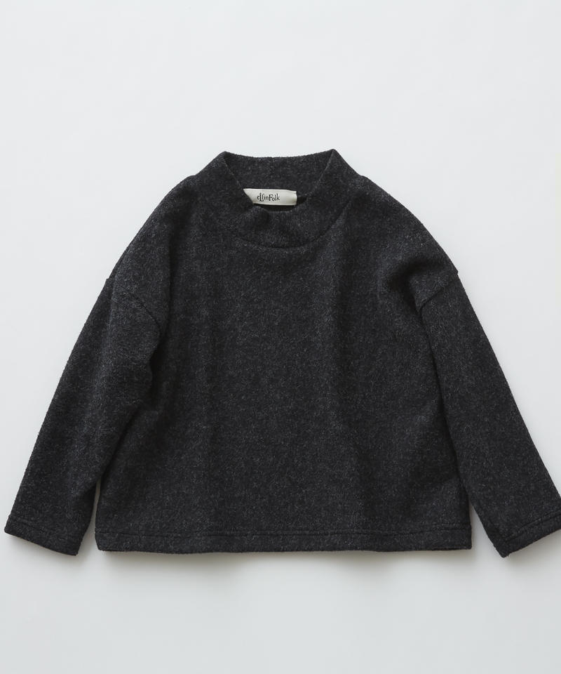 【 eLfinFolk 2019AW 】elf-192J34 melange highneck tops / black / 140 - 150cm