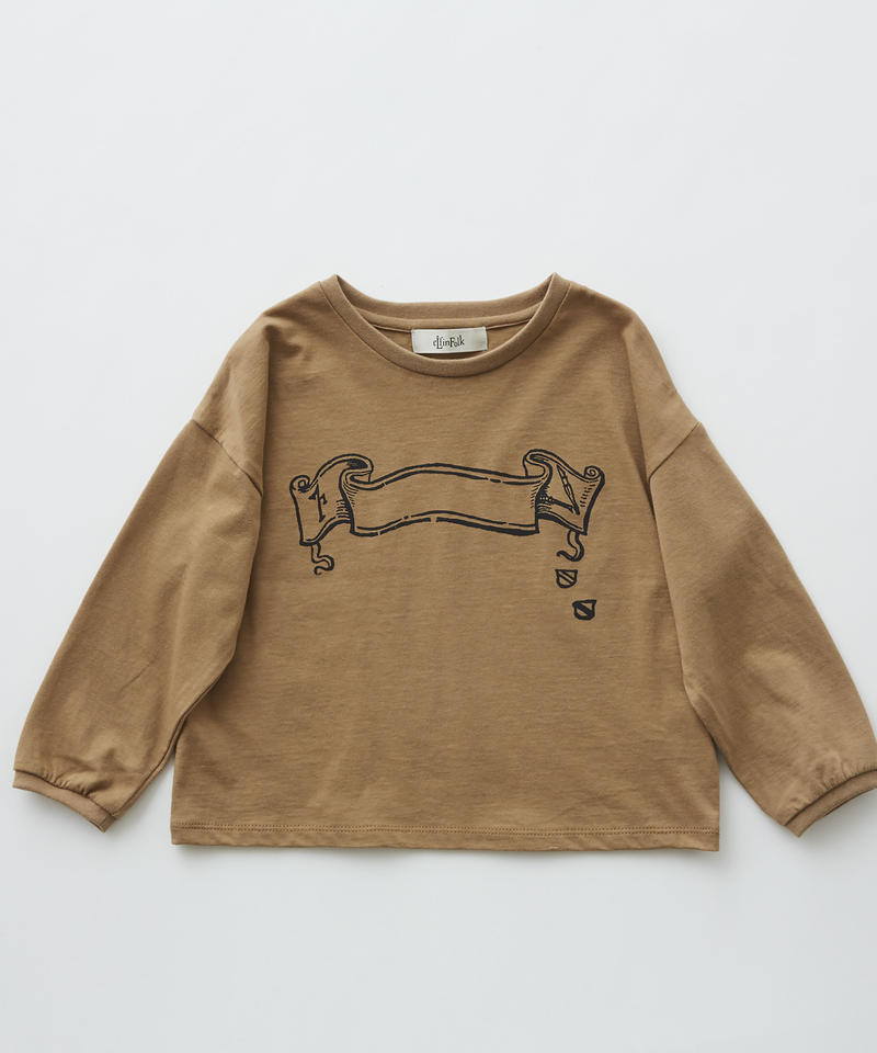 【 eLfinFolk 2019AW 】elf-192J03 flag print long sleeve-T / camel / 140 - 150cm