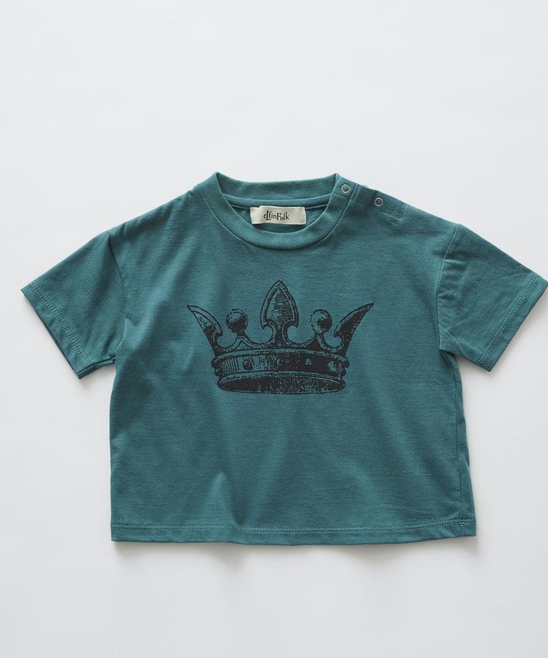 【 eLfinFolk 2019SS 】elf-191J02 crown T-shirts / green