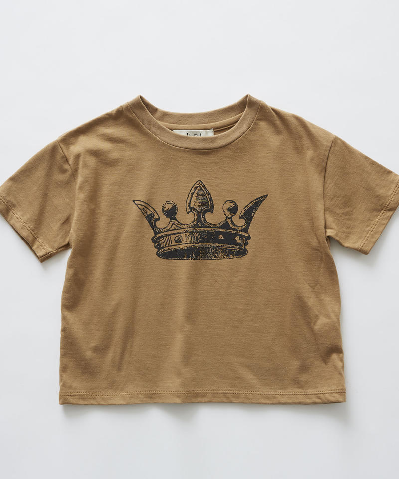 【 eLfinFolk 2019SS 】elf-191J02 crown T-shirts / camel