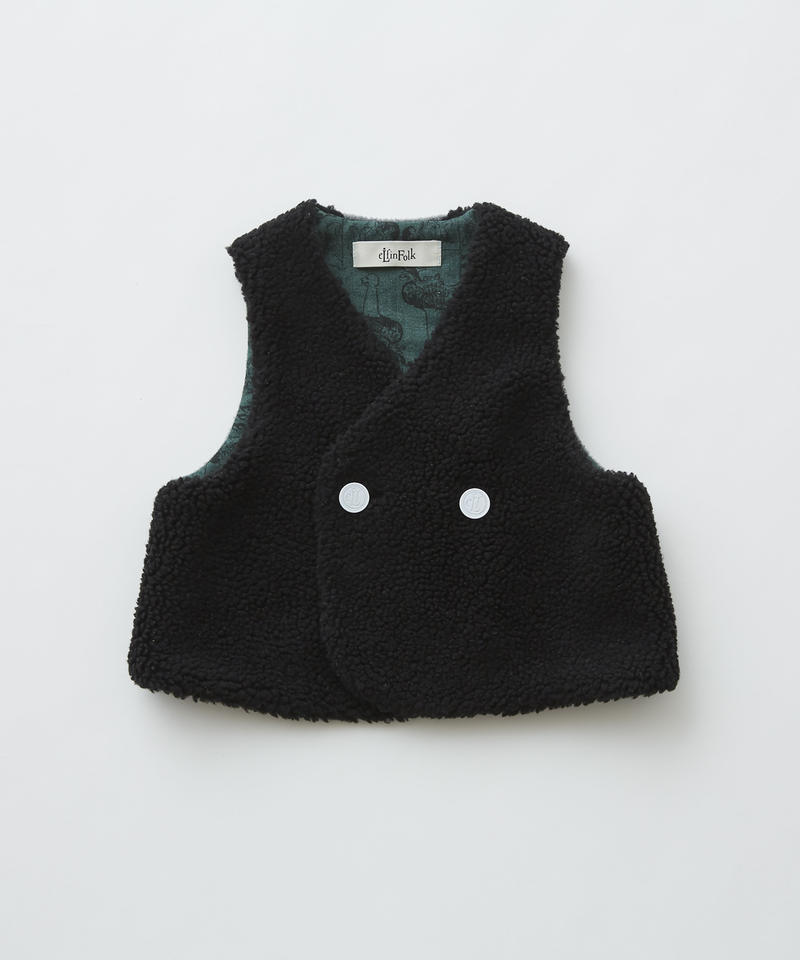 【 eLfinFolk 2019AW 】elf-192F31 sheep boa baby vest / black / 80 - 100cm