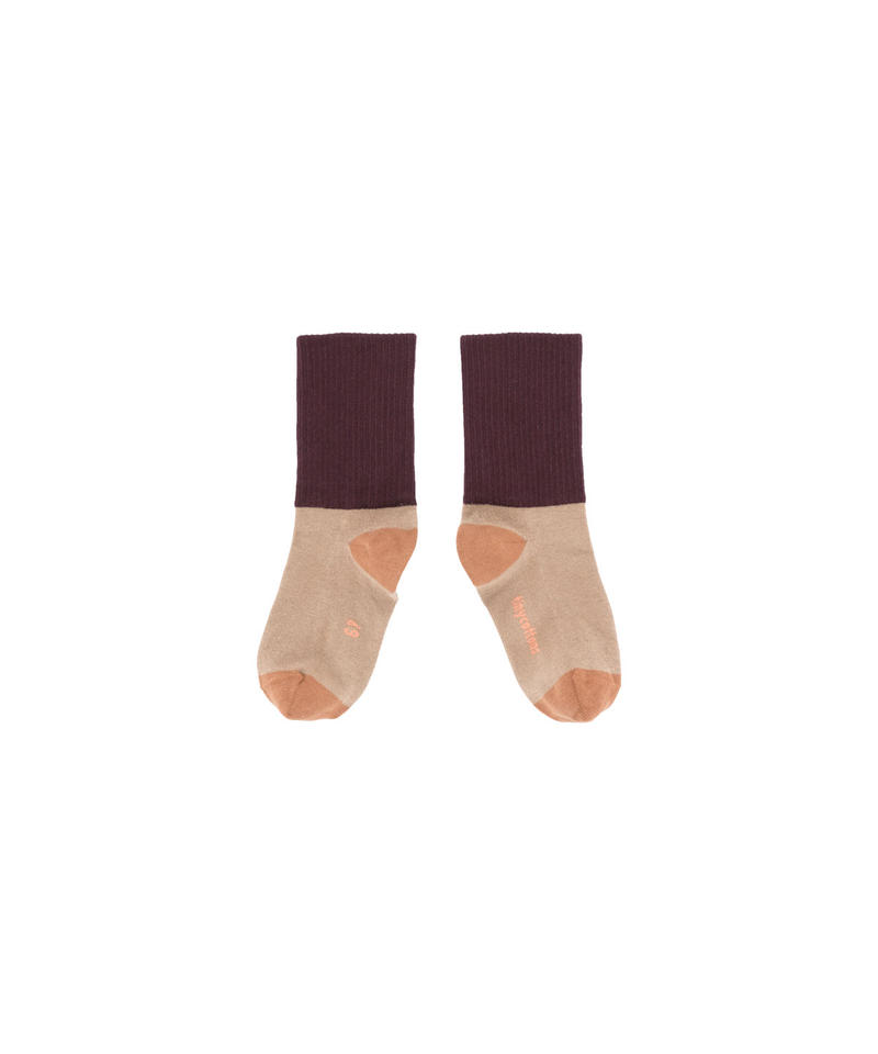 【 tiny cottons 2018AW 】 AW18-253 rib medium socks / dark nude/plum