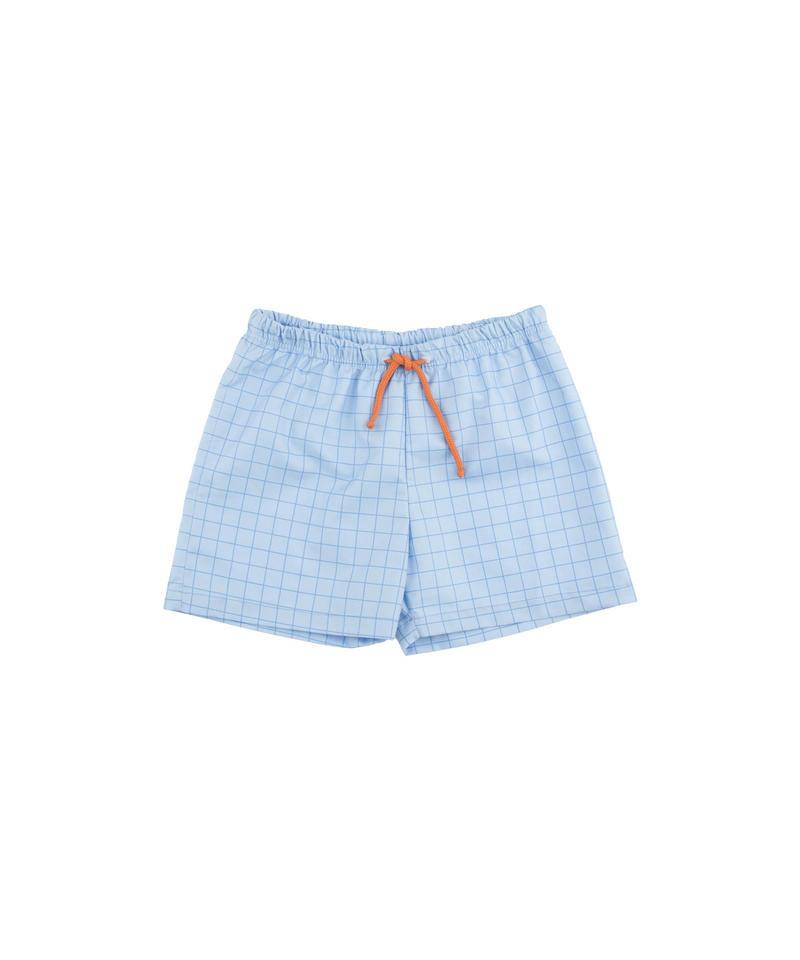 【 tiny cottons 2018SS 】SS18-308 grid trunks / light cerulean blue/cerulean blue