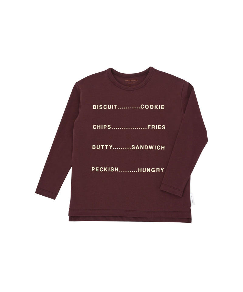 【 tiny cottons 2018AW 】 AW18-057 english words graphic tee / plum/eggnog