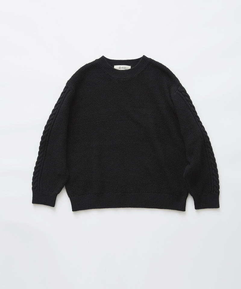 【 eLfinFolk 2019AW 】elf-191K13continuation moss stitch sweaer / black / 110, 130cm