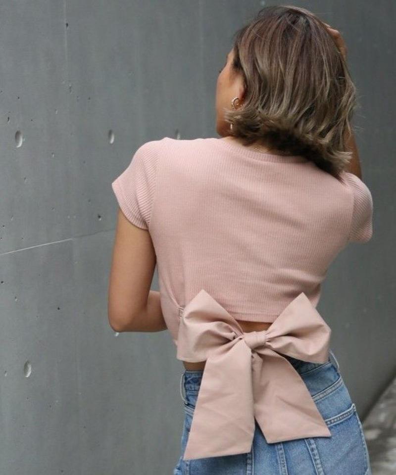 バックリボンリブTシャツ