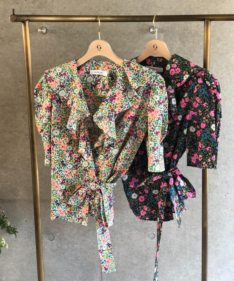即納(original)flower blouse