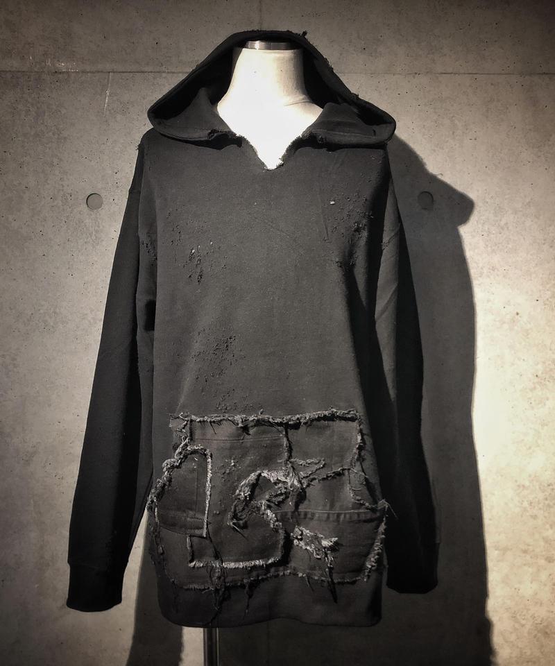 Black denim pocket damage hoodie