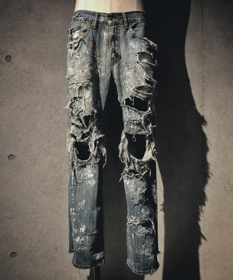 Destroy damage vintage denim pants