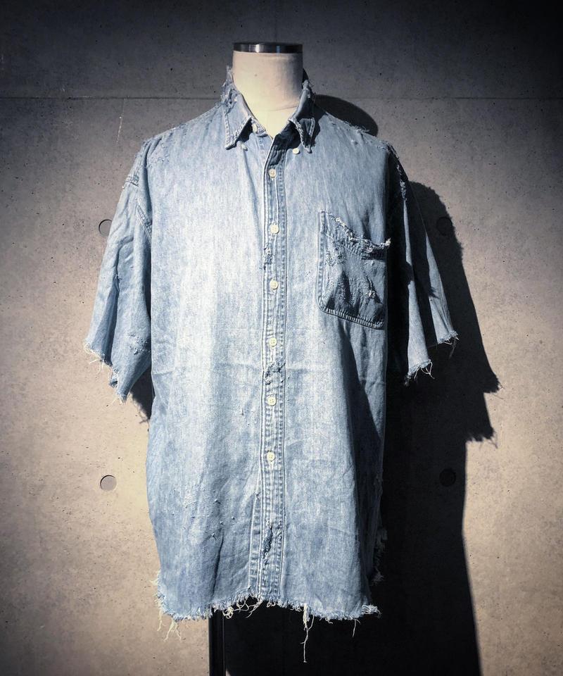 Damage denim half shirt