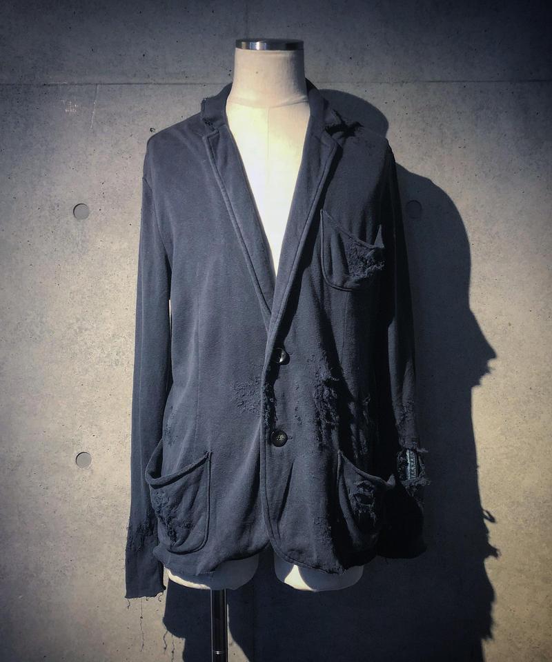 Denim patchwork damage jacket