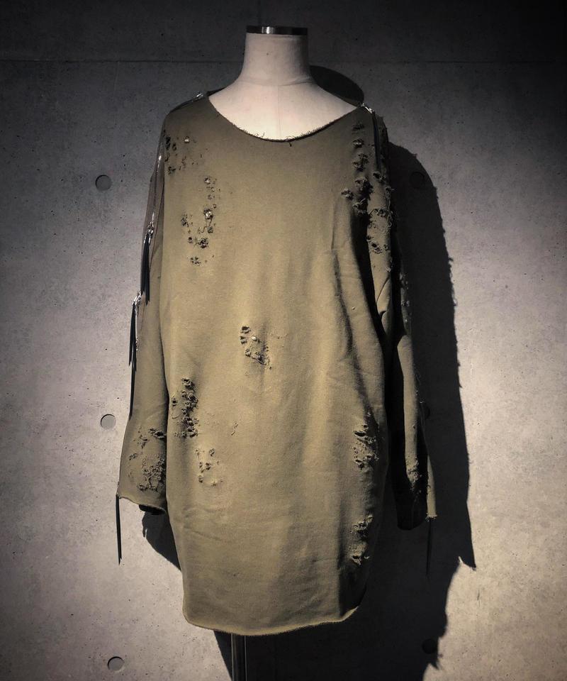 AUKENLIEV×RESURRECTION Side Zip Damage Sweat Shirt (KHAKI)