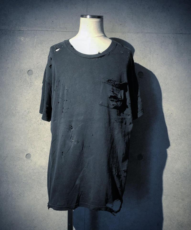 Vintage damage pocket T-shirt (BLACK)