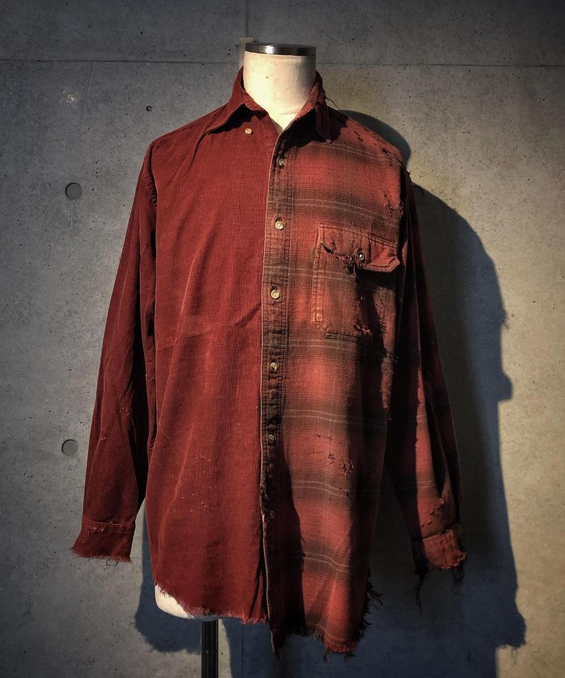Corduroy×check damage shirt