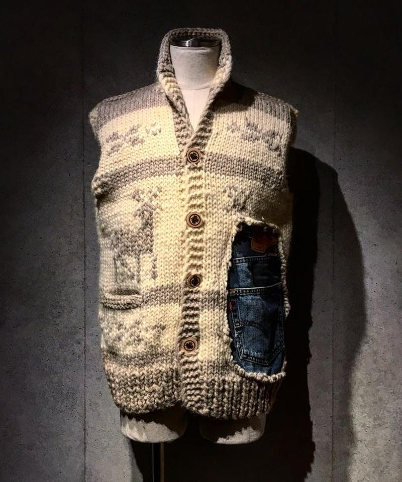Different fabrics Sewn Cowichan knit Vest