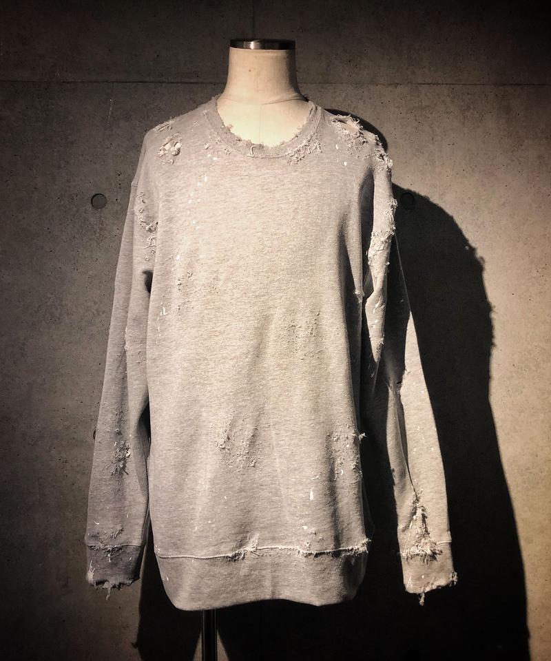 Hard damage paint sweat shirt
