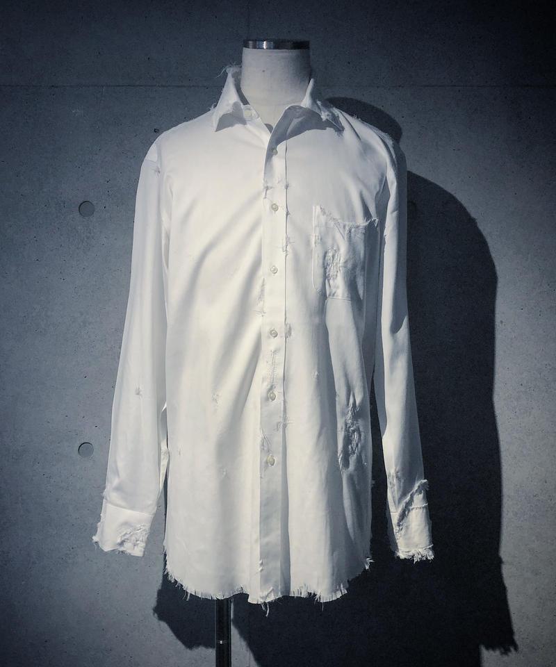 Patchwork & damage white shirt
