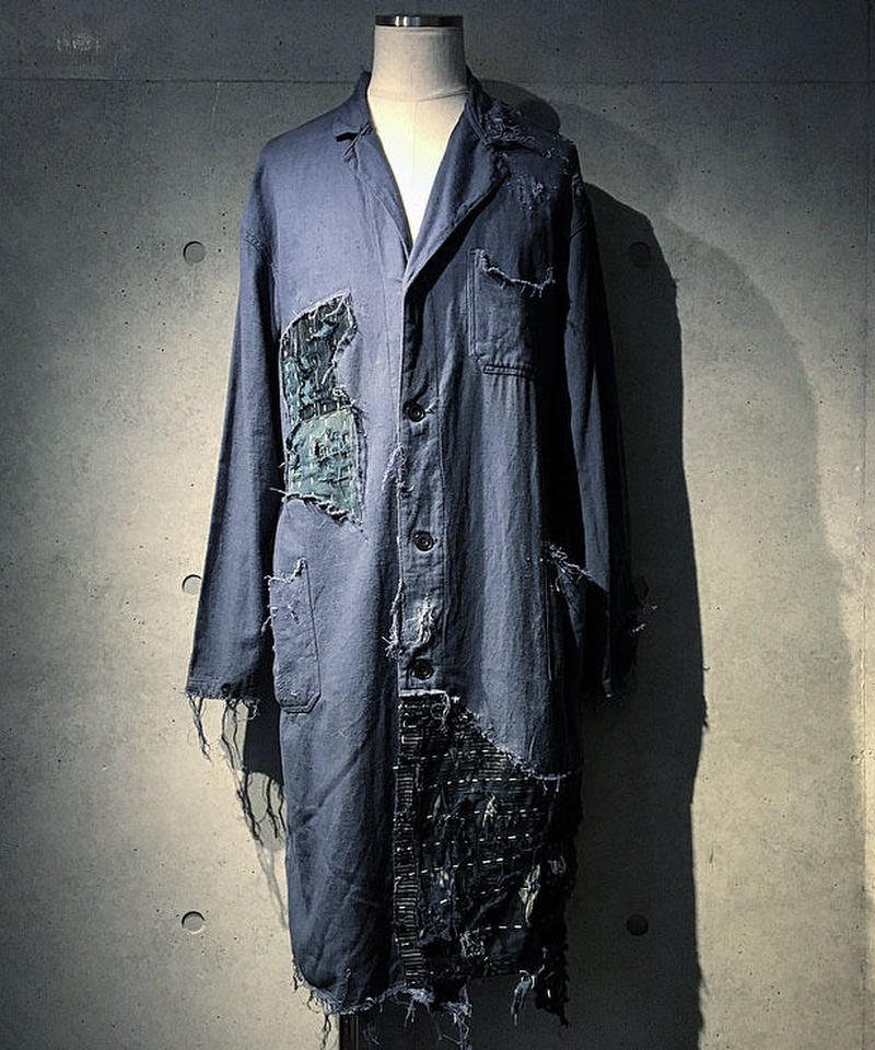 Different fabrics sewn long coat (襤褸)