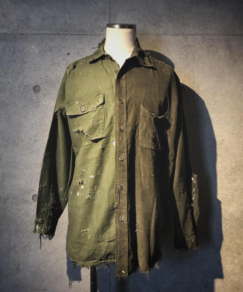 Military×corduroy damage paint shirt
