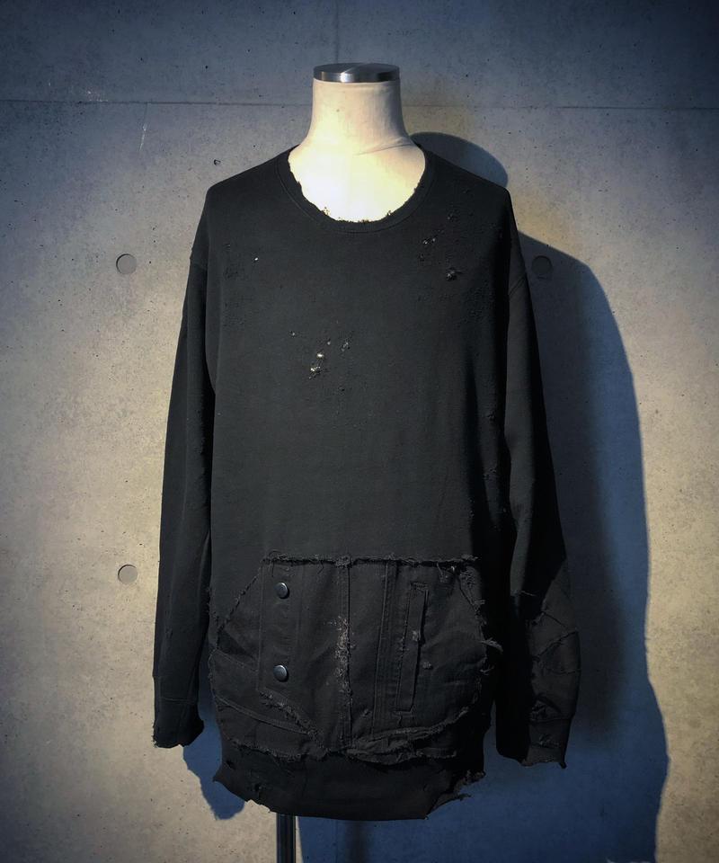 Black denim pocket damage sweat shirt