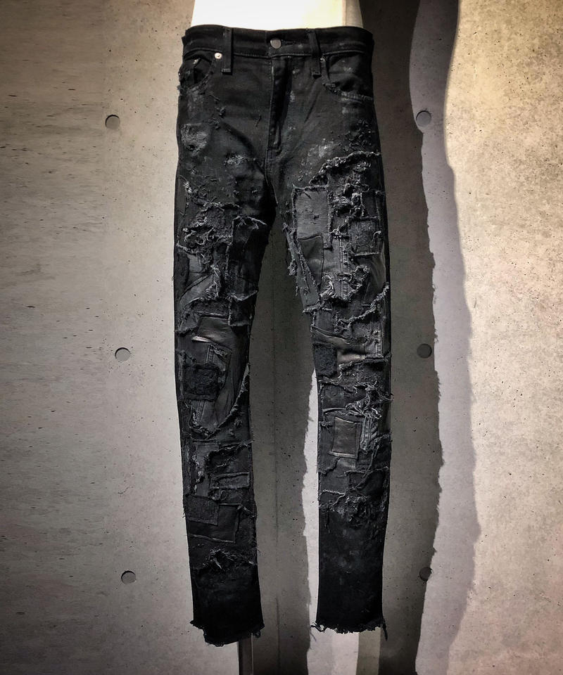 BLACK Crust denim stretch skinny pants