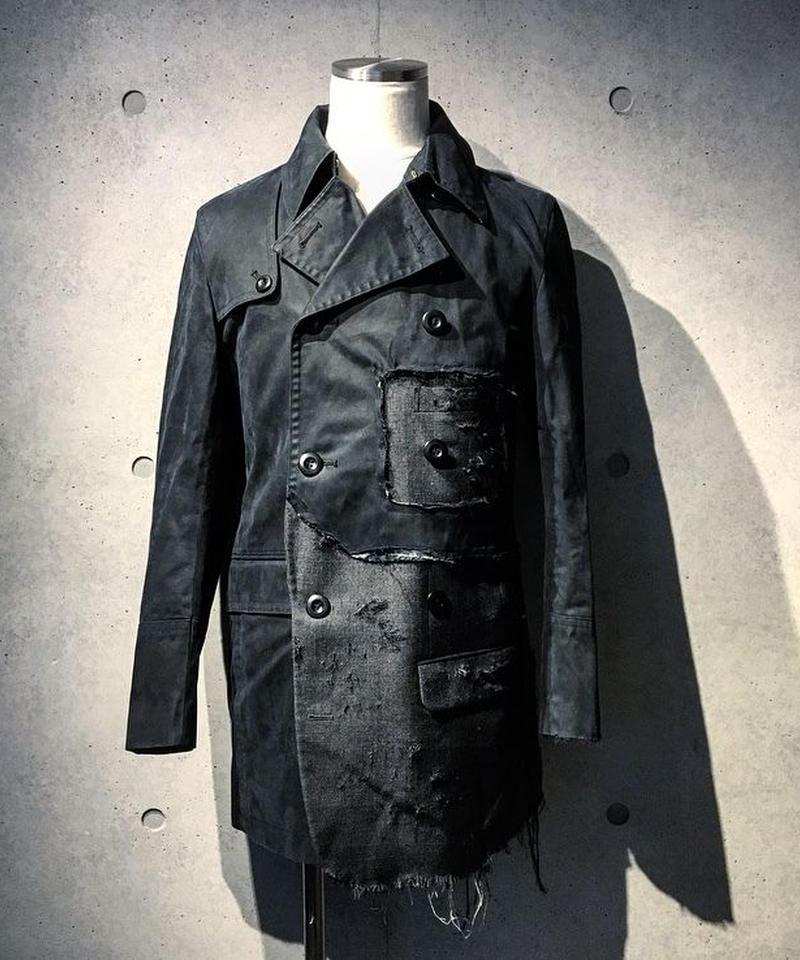 Different fabrics sewn trench Coat