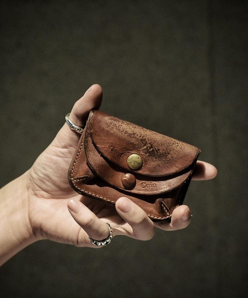 Italian shrink leather Coin Card case