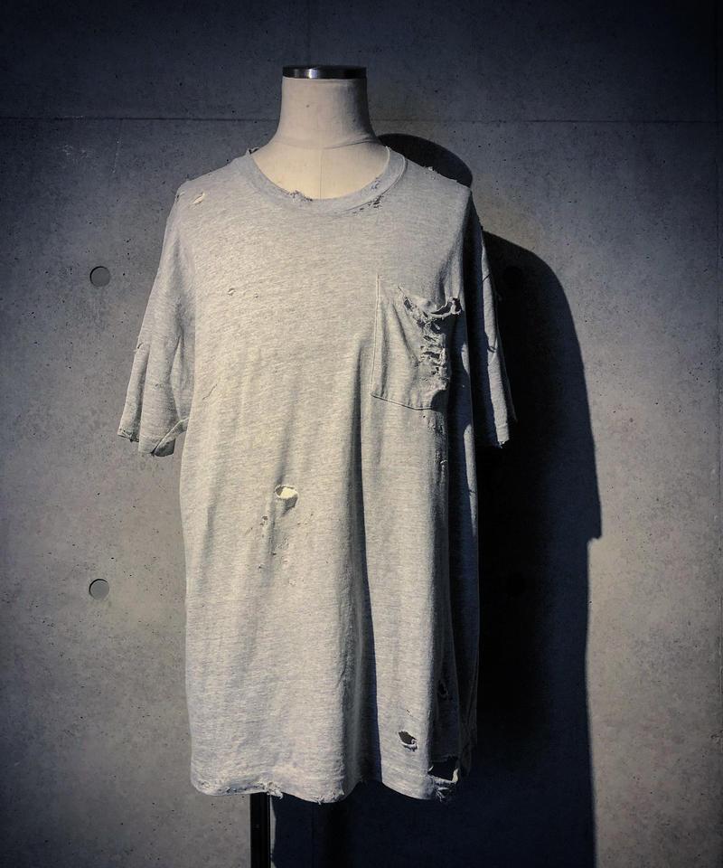 Vintage damage pocket T-shirt (GRAY)