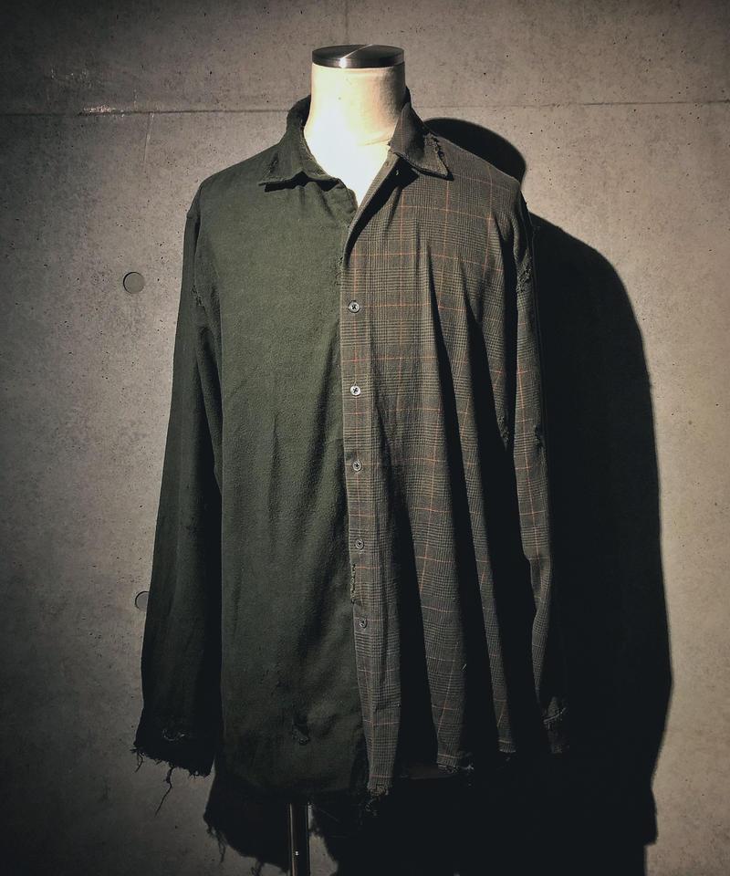 Half check damage shirt