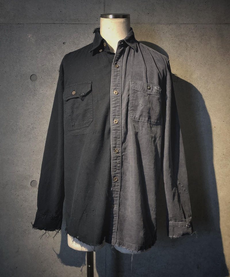 Half corduroy damage shirt