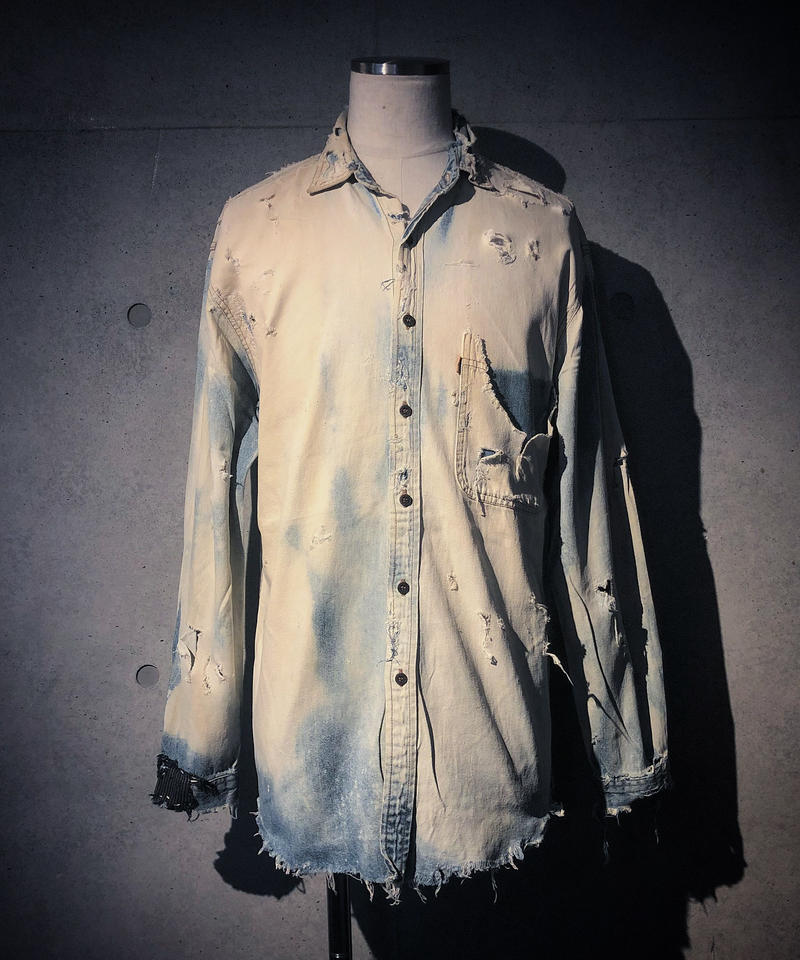 Vintage damage&dye denim shirt
