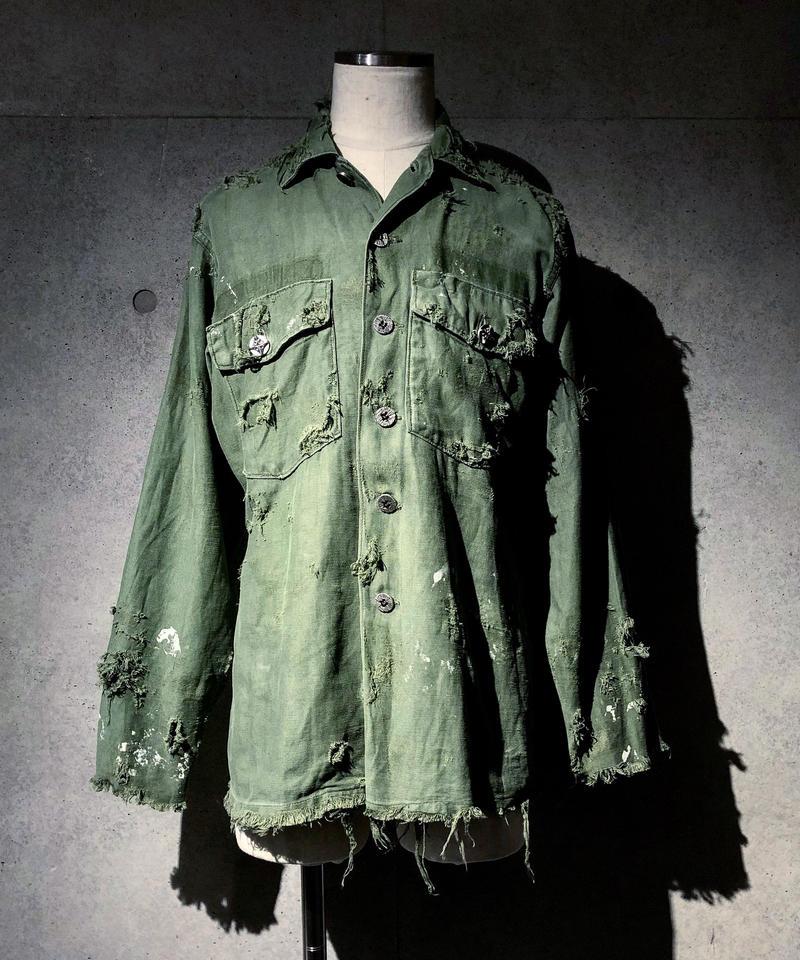SURREALISTE×RESURRECTION Silver button vintage damage militaly shirt