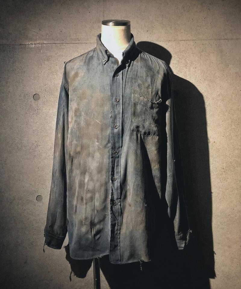 Vintage damage fake suède shirt