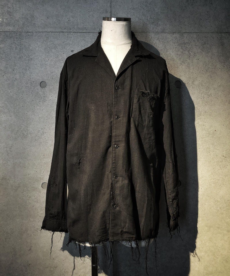 Black damage linen shirt