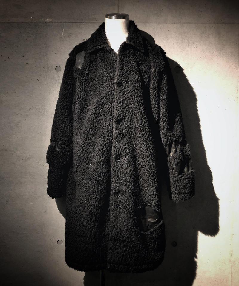 Leather × boa long coat