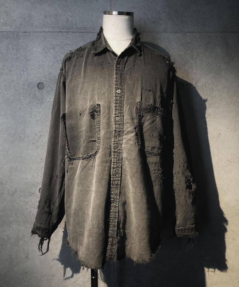 Black damage denim shirt