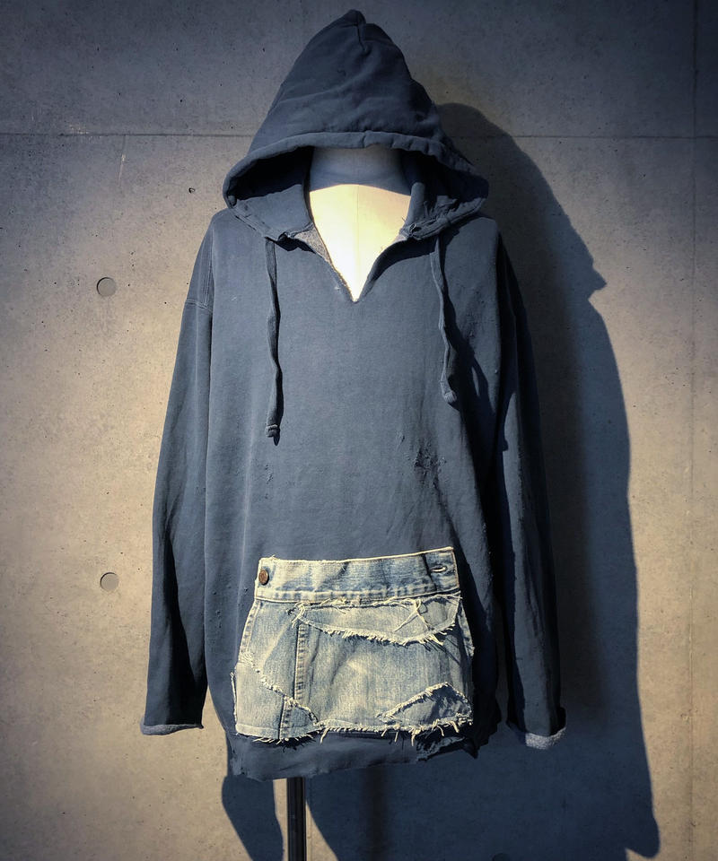 Denim pocket smoke navy hoodie