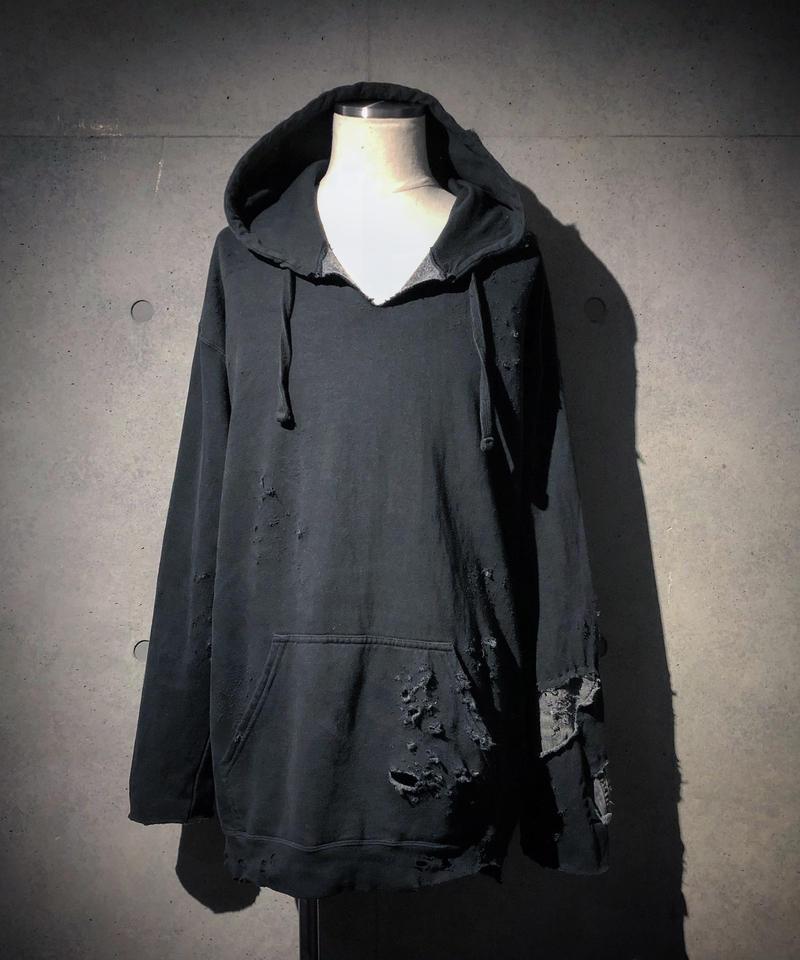 Different fabrics sewn smoke black hoodie