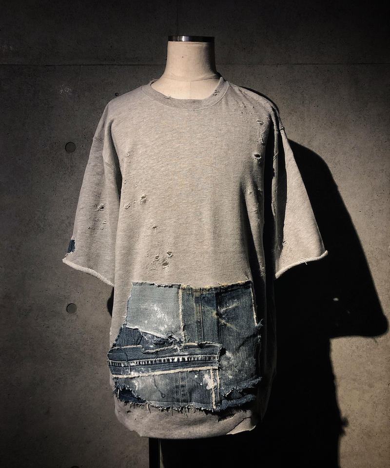 Denim pocket damage gray sweat shirt