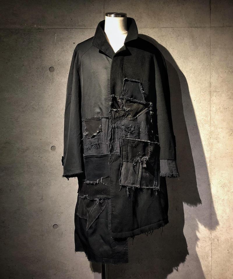 Asymmetry patchwork long coat