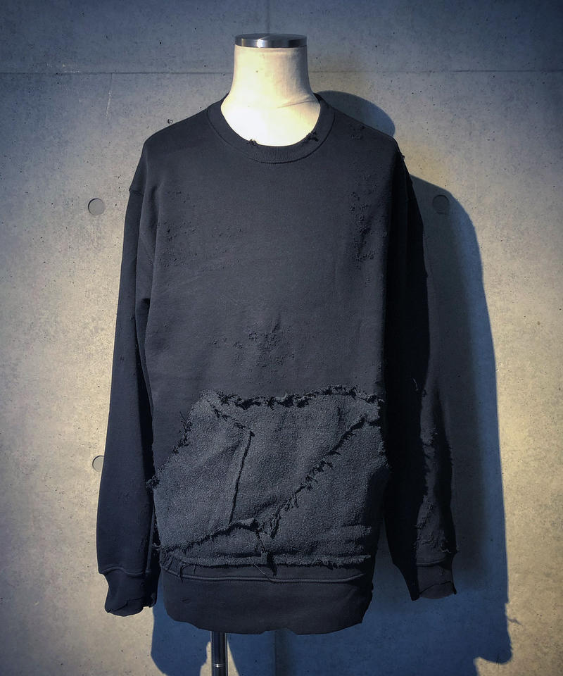 Different fabrics pocket damage navy  sweat shirt