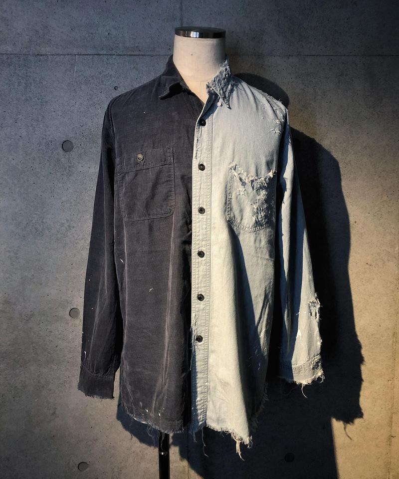 Denim × Corduroy half shirt