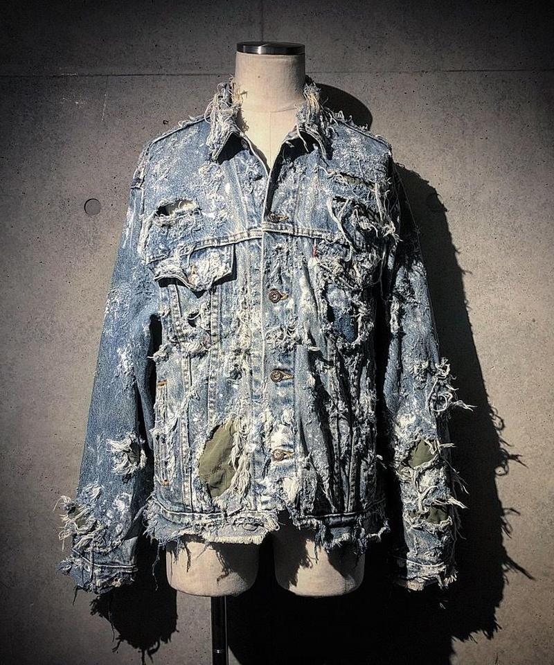 Hard damage military × denim jacket