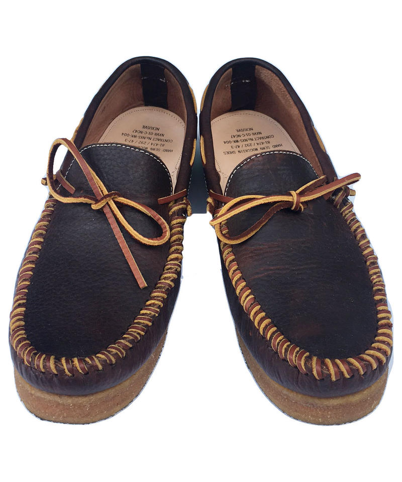 "NEXUSVII.  "" HAND SEWN MOCCASIN SHOES "" BROWN OILED"